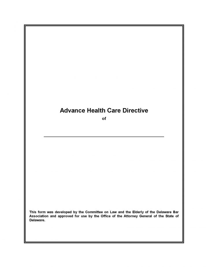 Delaware Advance Health Care DirectiveLiving Will Form  Will