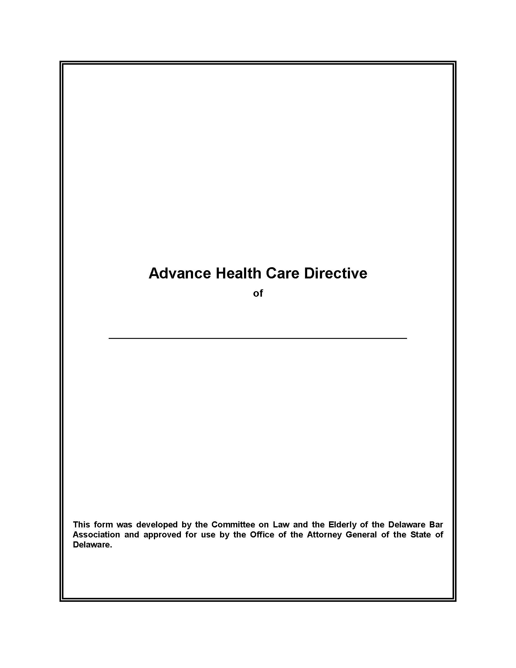 delaware advance health care directiveliving will form - Will Form