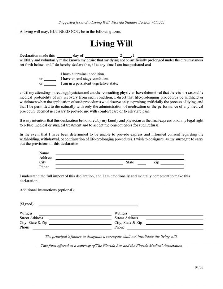 Living Will Form >> Florida Living Will Form Will Forms Will Forms