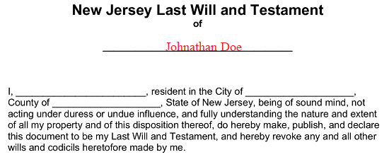 New Jersey Last Will And Testament Form Will Forms Will Forms