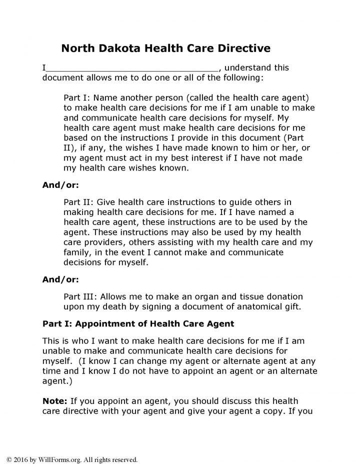 North Dakota Advance Health Care Directive(Living Will) Form
