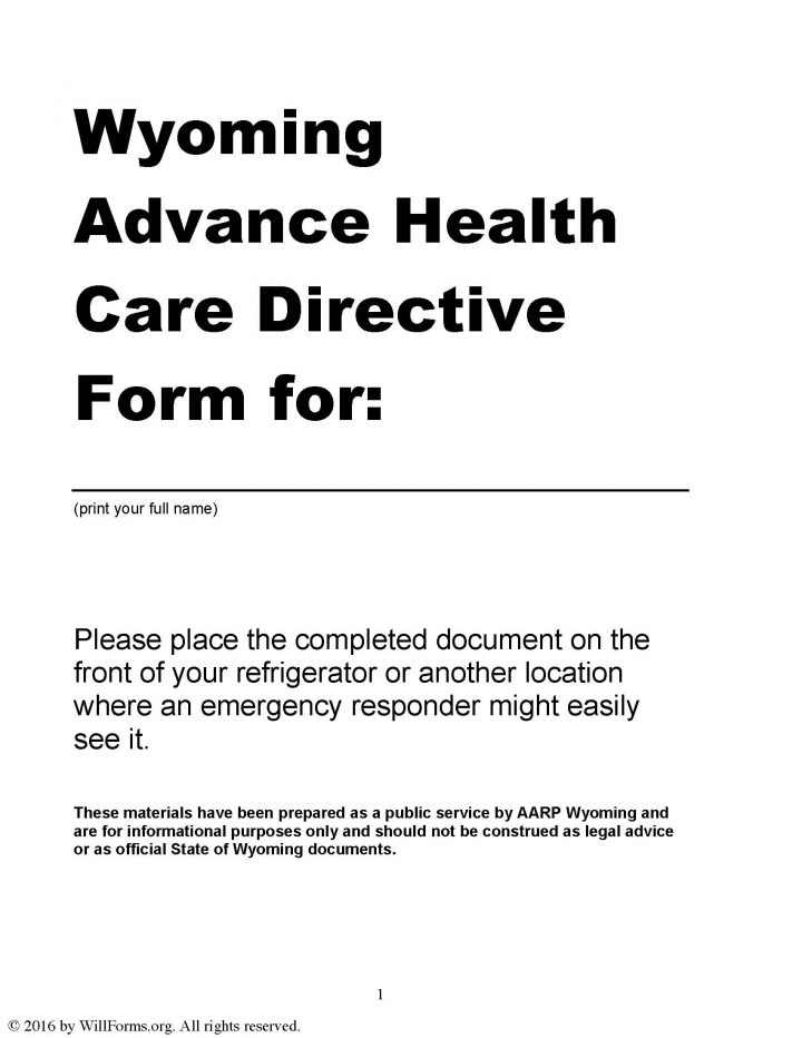 Wyoming advance health care directive living will form for Advance care directive template