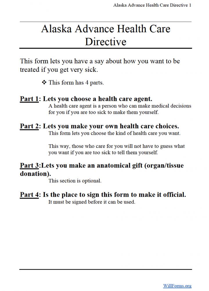 Alaska Advance Directive (Living Will) Form