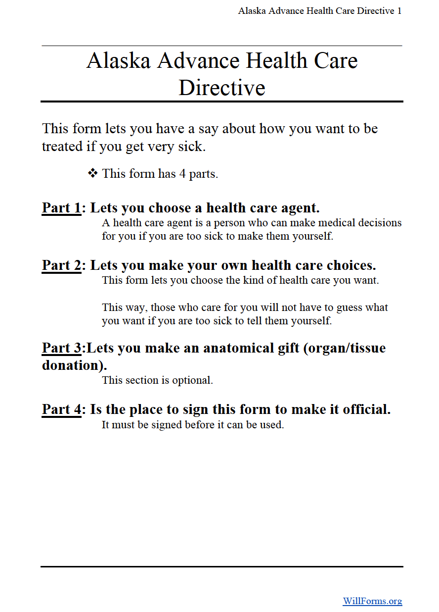 Advance Directive Form | Alaska Advance Directive Form Will Forms Will Forms